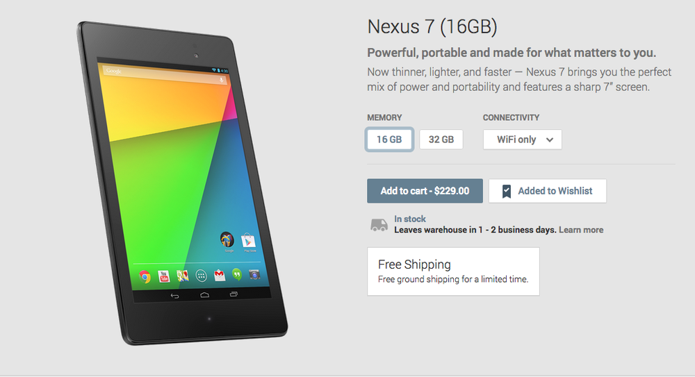 Nexus 7 pricing - 16GB