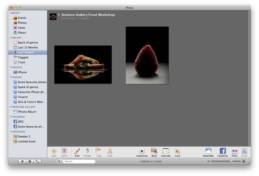 iPhoto automatically creates a new Event when you import your photos; rename it to something descriptive.