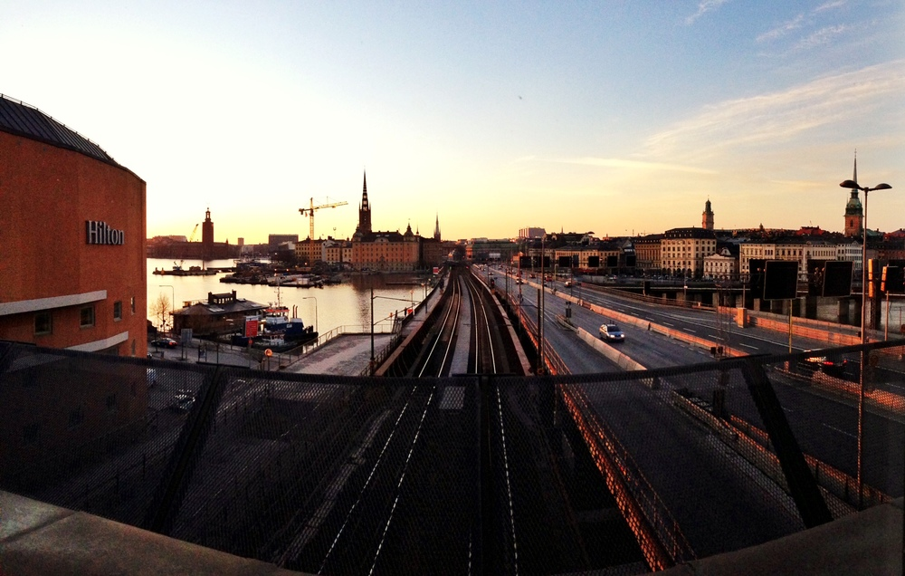 iPhone 5 panorama shot edited with Snapseed, taken out the window of the Hilton Slussen, the venue for Tuesday's #sthlmtech meetup.