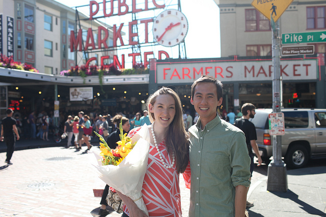Pike Place Market in September during a visit from Alex's parents.