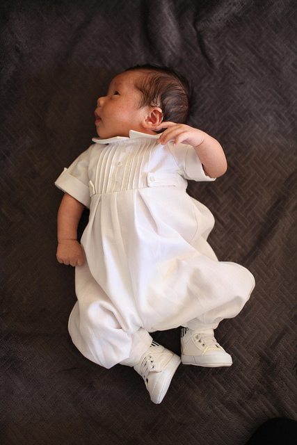 Blessing outfit made by Grandma Bird.