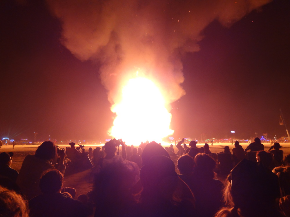 The Man ignited on Saturday night. Several minutes of fireworks preceded the enormous accelerators, which threw dual mushroom clouds of fire over a hundred feet into the air. For several moments, it was like daytime, and the heat was palpable from a far away.