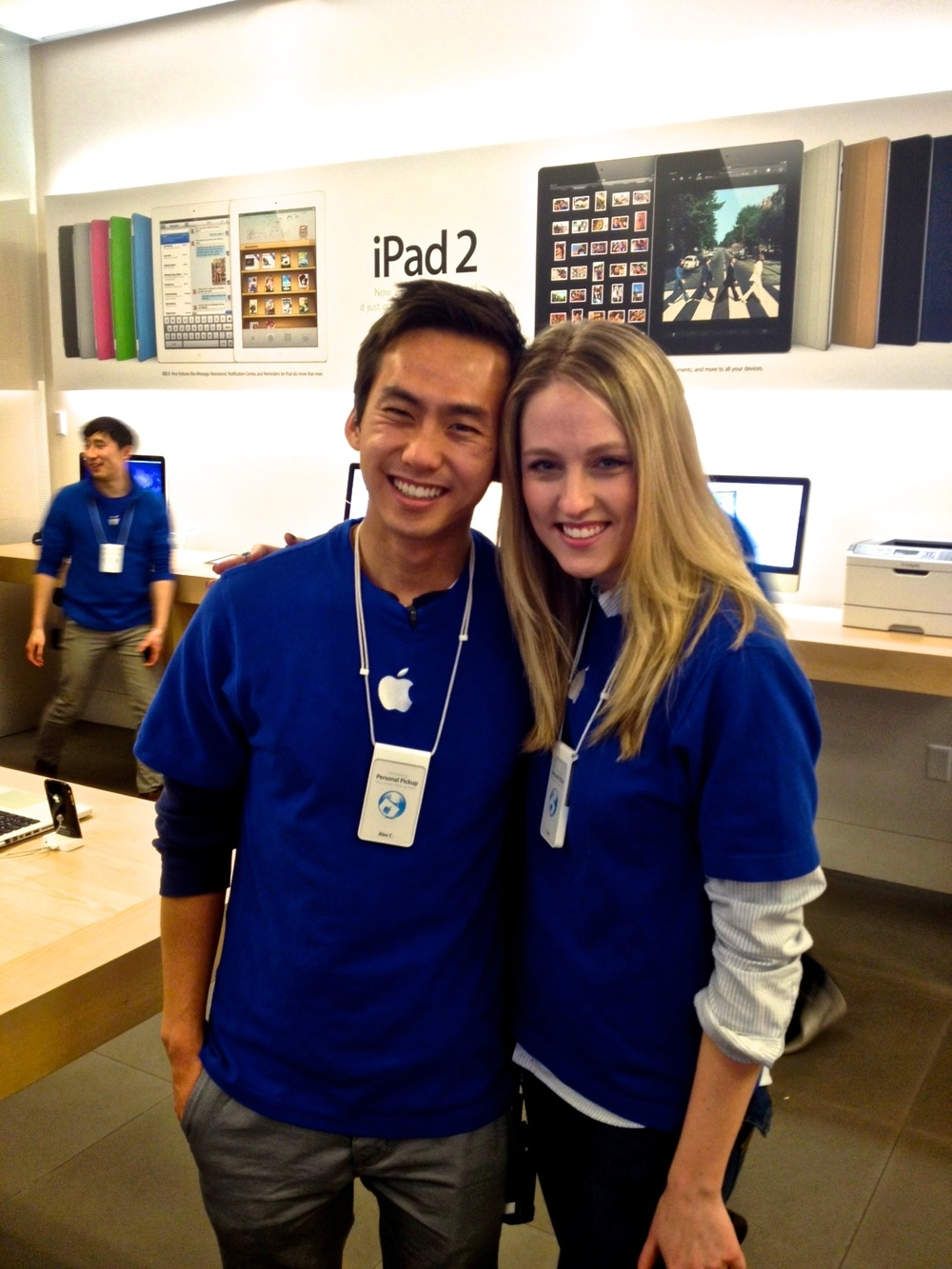 I worked with Carly (@carlymask) for over 18 months. This is us on her last day at Stonestown. (And that's Jeff Wang behind us -- probably helping 12 Chinese mainlanders)
