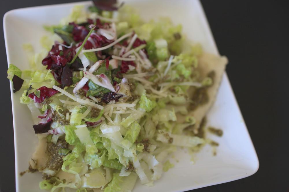 Artichoke Ravioli Salad (Add chopped radicchio and romaine on top of pesto-topped store-bought artichoke ravioli.)