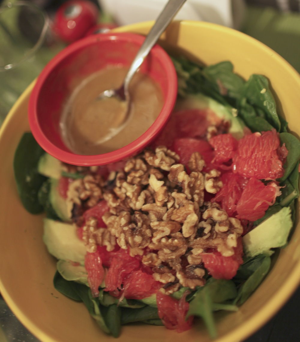 Avocado Grapefruit Salad (Chop walnuts on top of carefully split-apart grapefruit and sliced avocado and spinach greens; add homemade honey mustard.)
