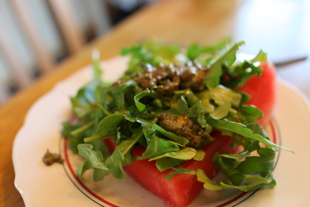 Watermelon Arugula Salad (Blend a mix of mint, pistachio, and olive oil for your dressing)