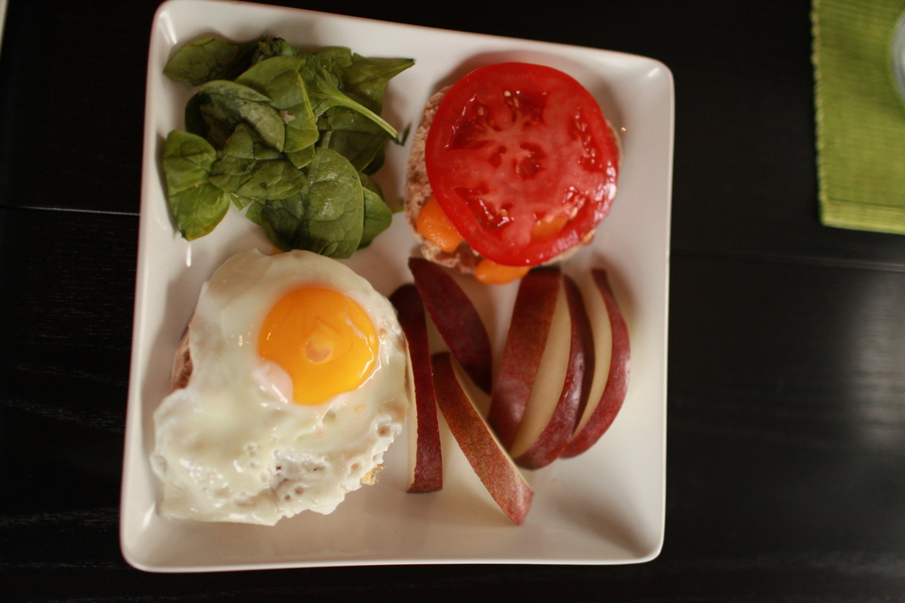 Nicole's Sunny Side Up English Muffins with Spinach, Red D'anjou Pear and Beefsteak Tomato