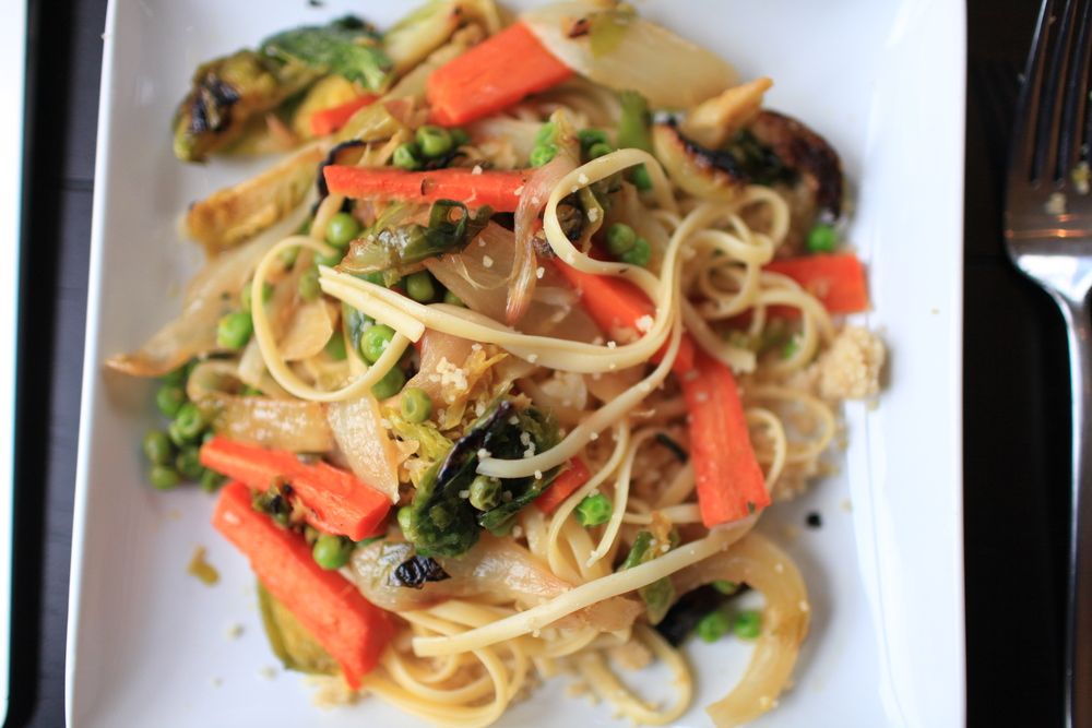 Carrot & Brussels Sprouts Ragout Linguine