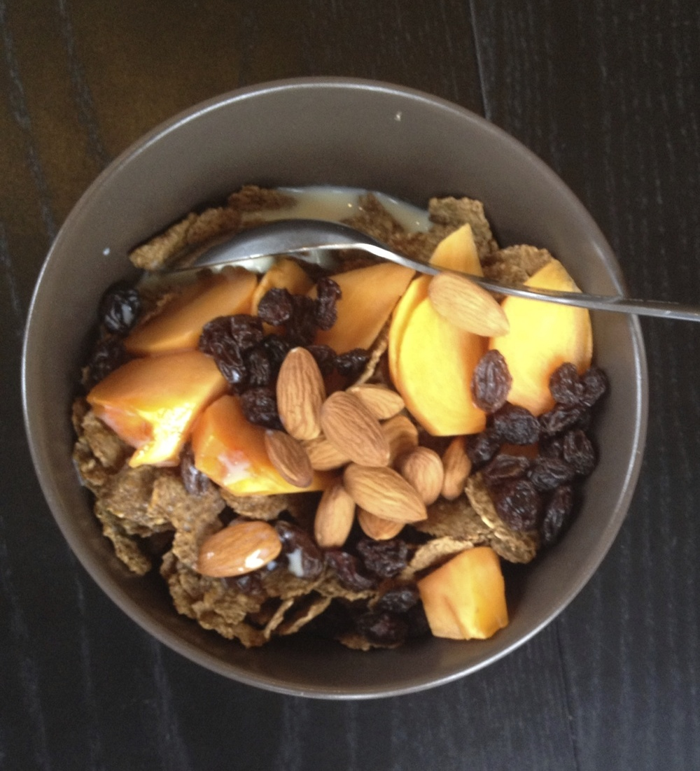 Bran Flakes with Persimmon, Thompson Raisins, and Almonds