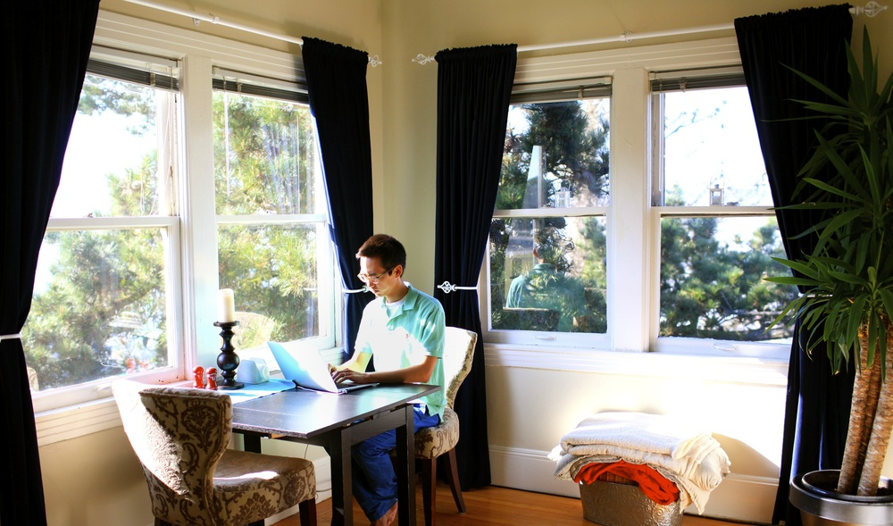 Myself hard at work at our home office perched on the very top of Potrero Hill
