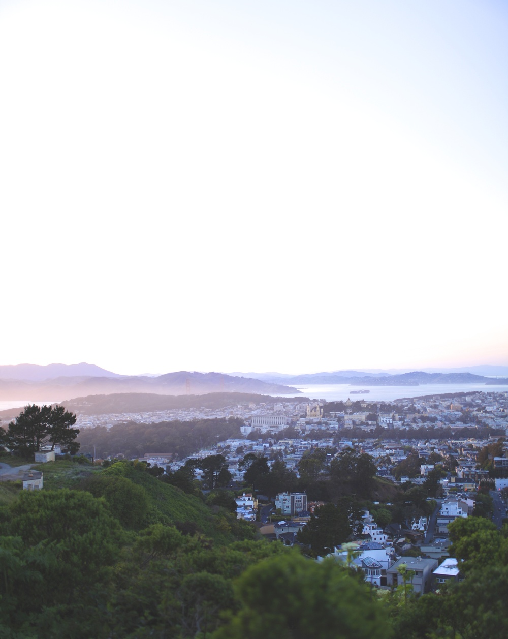 An unconventional view of the Golden Gate Bridge with its neighboring communities, from the Twin Peaks scenic ridge