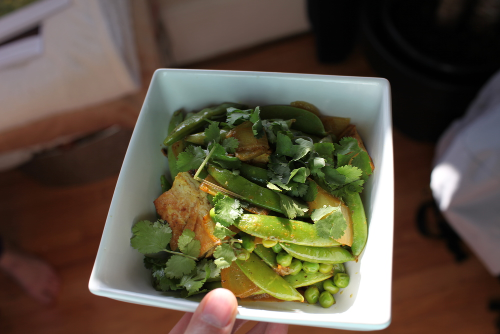 5.Dr. Andrew Weil's Curried Peapods and Tofu (with Cilantro, Canola-Oil Shallow-Fried Firm Tofu, Onion, Cilantro, and Sugar Snap Peas), served over a bed of Israeli Couscous.