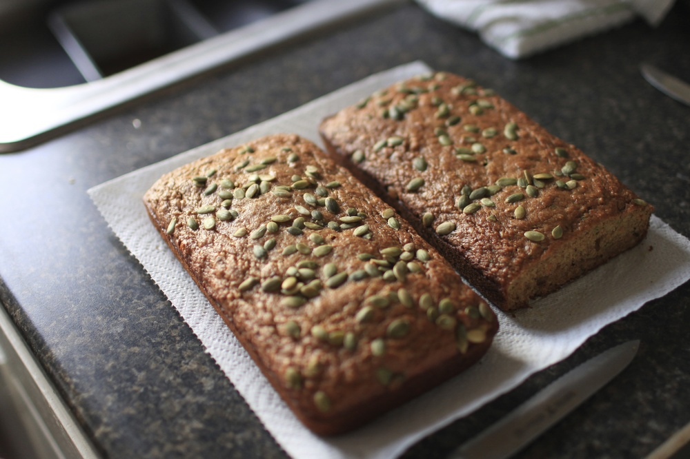 10.True Food 's Carrot-Parsnip-Zuchinni Bread, with hints of Cinnamon, Nutmeg, & Cloves, and an infusion of Pumpkin Butter, topped with Pepitas. (Hint: Nicole tends to substitute butter with apple sauce in non-yeast breads, making them lighter and fluffier)