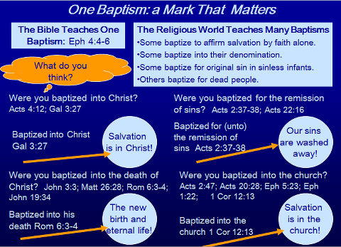 One Baptism  Baptized ... into Christ, into his death, into the church, and for the remission of sins