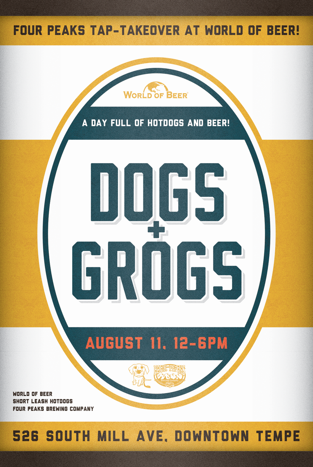 Graphic Design for Four Peaks Brewery, World of Beer, and Short Leash Hotdogs of Phoenix Arizona