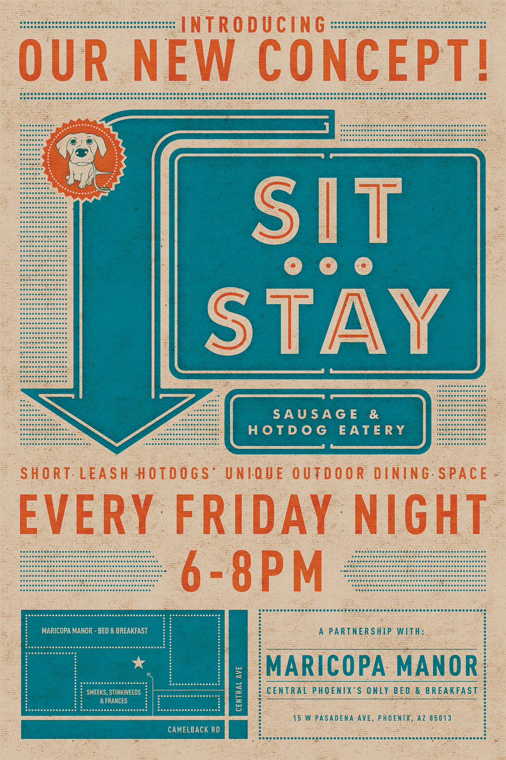 Sit Stay Graphic Design for Short Leash Hotdogs of Phoenix Arizona