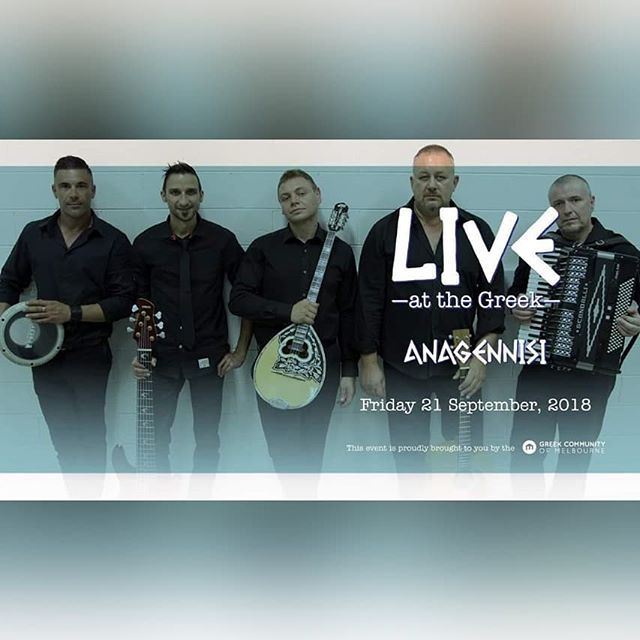 After a sell out show earlier this year Anagennisi is back at Live at The Greek this Friday 21st September.  Tix/Enq: https://www.trybooking.com/book/event?eid=420499& (03) 9662 2722 tickets@greekcentre.com.au