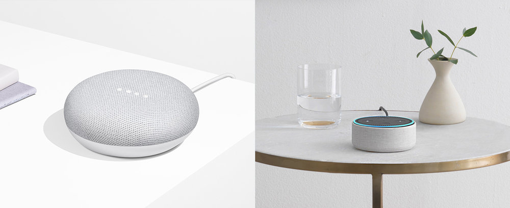 Google Home Mini. Amazon Echo Dot.
