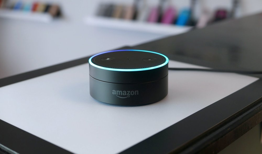 The Echo Dot's blue LED.