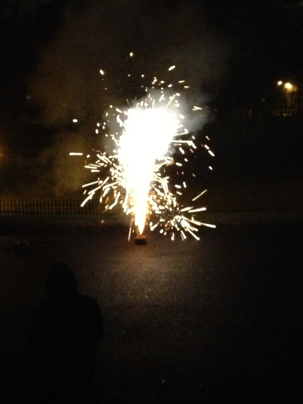 Young people enjoyed the fireworks from the safety of the church coffee shop.