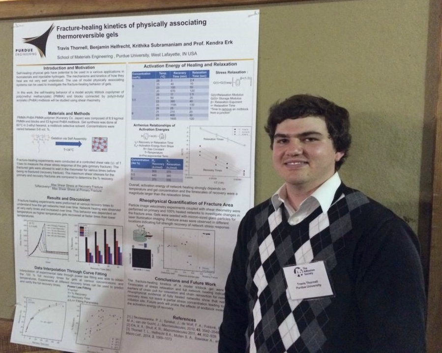 First Runner-Up in the Student Poster Competition at the 38th Annual Meeting of The Adhesion Society in Savannah, GA (Feb 22-25, 2015).