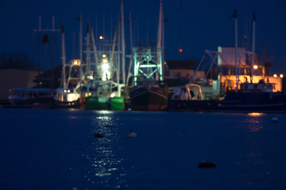 The Cape May Harbor in the early morning before sunrise.