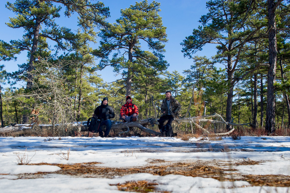 Myself, and my friends Jesse & Richie taking a much needed rest while walking the 9+ mile Mullica River trail in Wharton State Forest. It was a beautfiul winter hike with snow covering most of the ground, clear skies and good company. A great day outdoors.