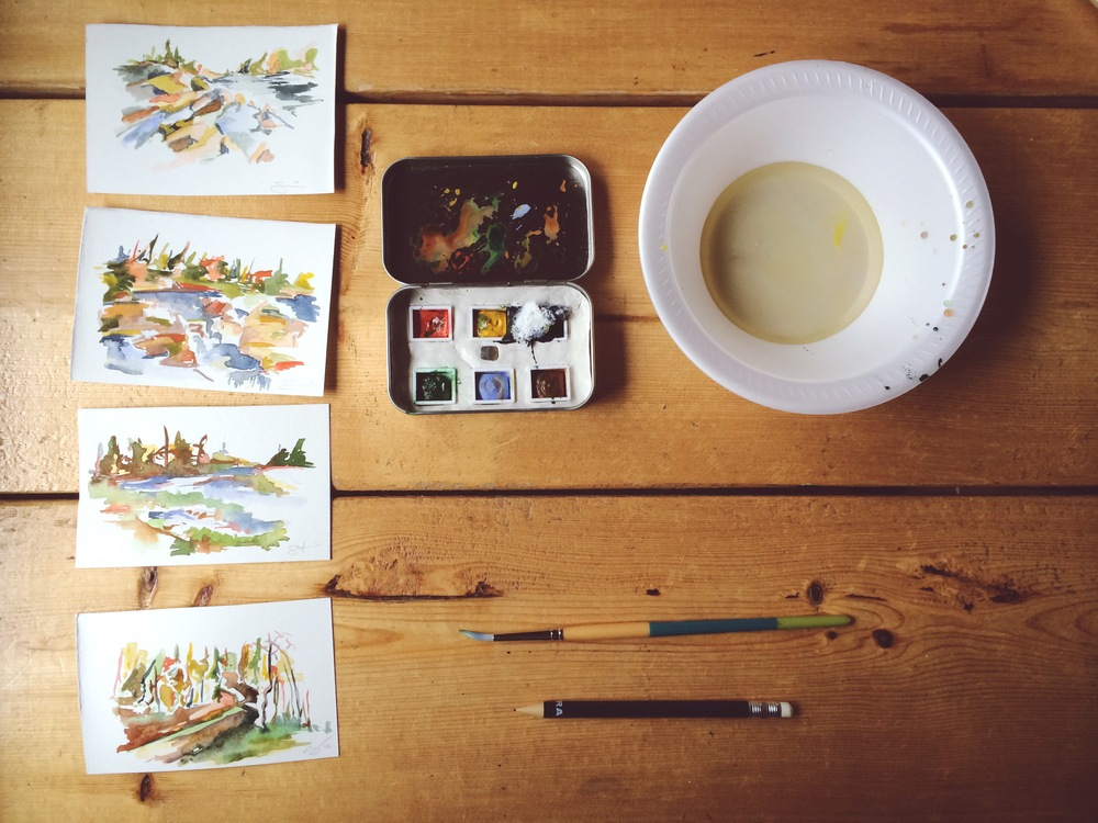 I have not painted in years.  I recently had a lady named Kelly, create a custom palette in an old mint box. It was created specifically so that I can take it with me when I enter the wild. These are snippets of memories from the Northern wild of Minnesota.  A new project to become a full series of images and impressions, created in their known space, in real space. This is only the beginning as more adventures are already planned....