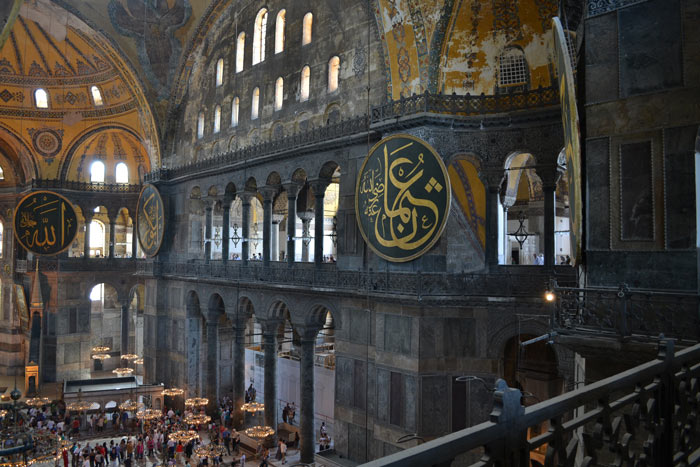 View of the interior of Hagia Sophia from the Gallery.