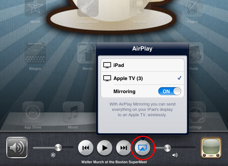 AirPlay icon circled in red.