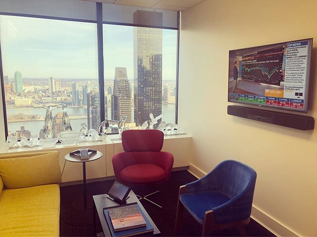 "@crestron flex video conferencing in a huddle room, Crestron lighting and motorized shades, all controlled by a 10"" touch panel, with an incredible view of the east river #nyc #crestronflex"