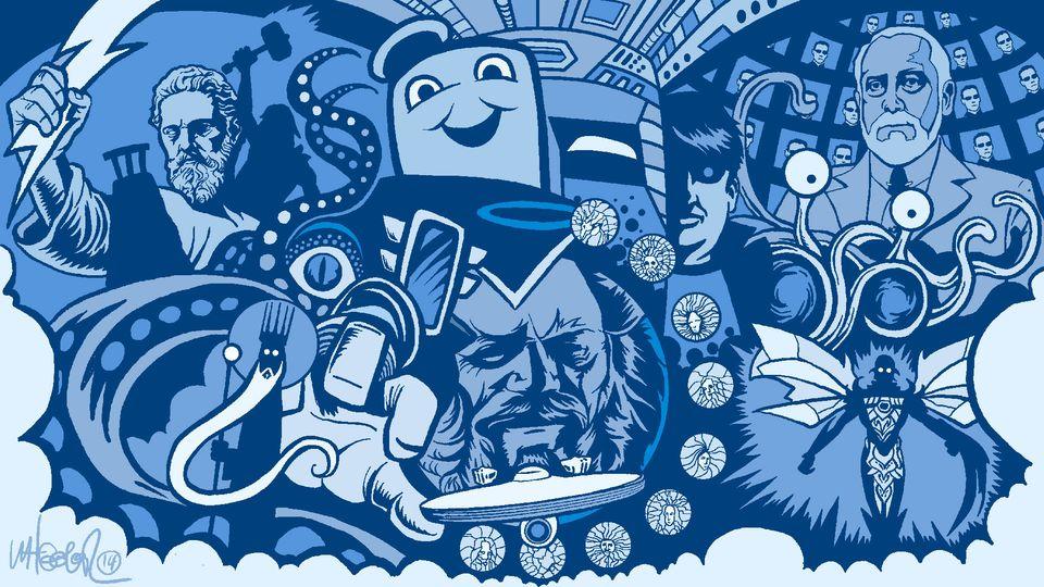 Sponsored: An illustrated timeline of fictional gods  - provided spot illustration.