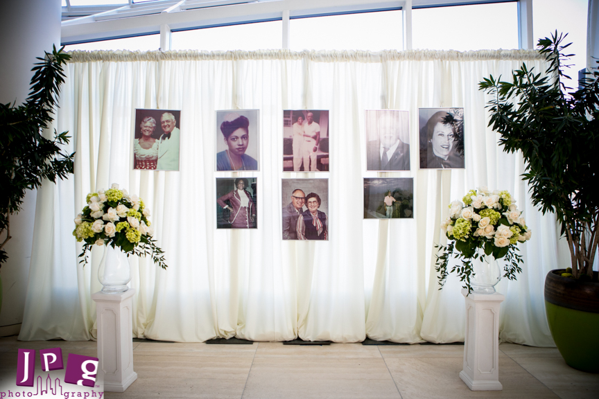 The ceremony space featured memorial photographs of family members. Photograph by  JPG Photography