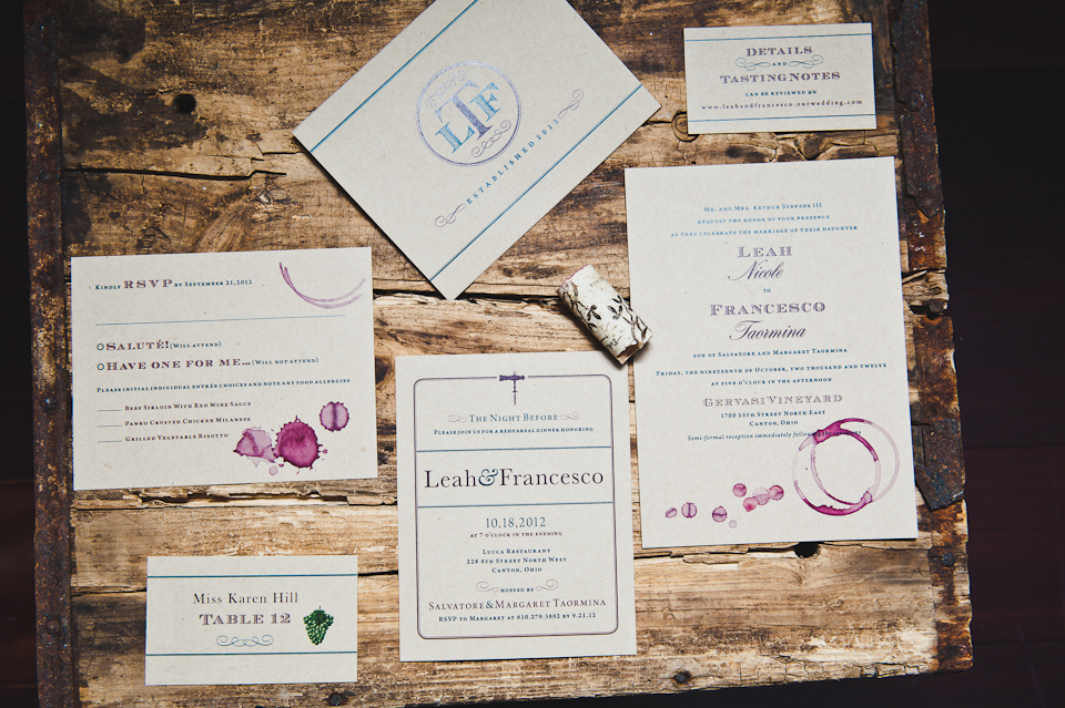 A rustic chic wine-stained wedding invitation suite with rehearsal dinner invitation, thank you card, and seating card. Photograph by BG Productions.