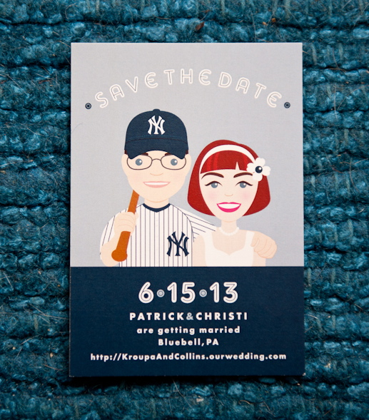 A New York Yankees themed Save the Date featuring unique custom illustrations of the couple. Photograph by BG Productions.