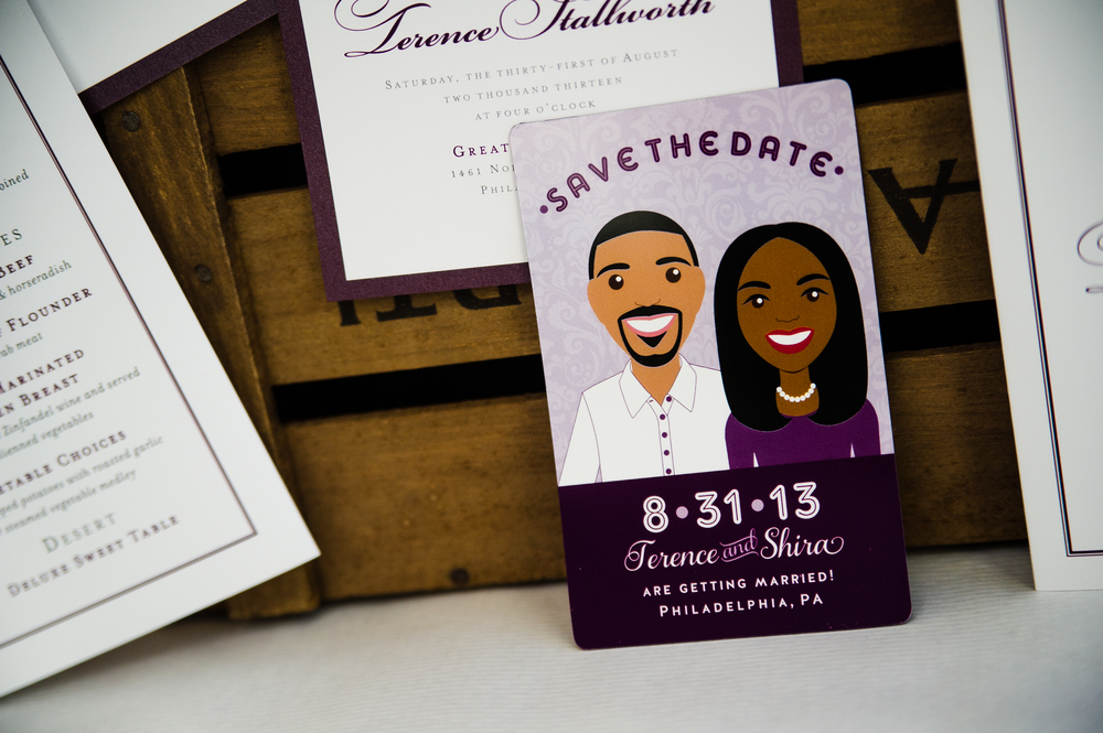 Shira & Terence's custom-illustrated Save the Date based upon photographs of the couple. Photo by Nina Price Photography.