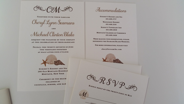 Wedding invitation suite for a beach wedding custom designed by Creative Director Francesca Staffieri