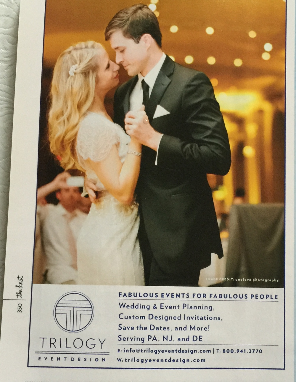 Photo featured in our print ad by onelove photography