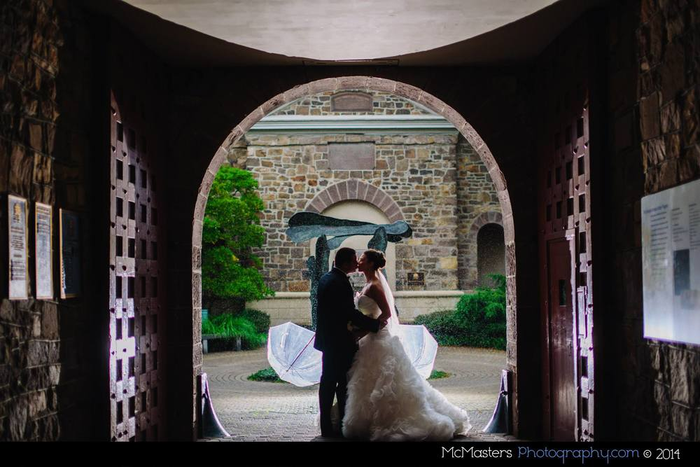 Jaclyn & Olivier's wedding at Michener Art Museum. Photo by McMasters Photography.