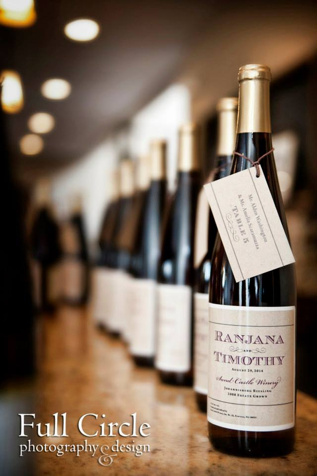 Custom-designed wine bottle labels and favor tags by Trilogy Event Design's Creative Director Francesca Staffieri. Photo by Full Circle Photography.