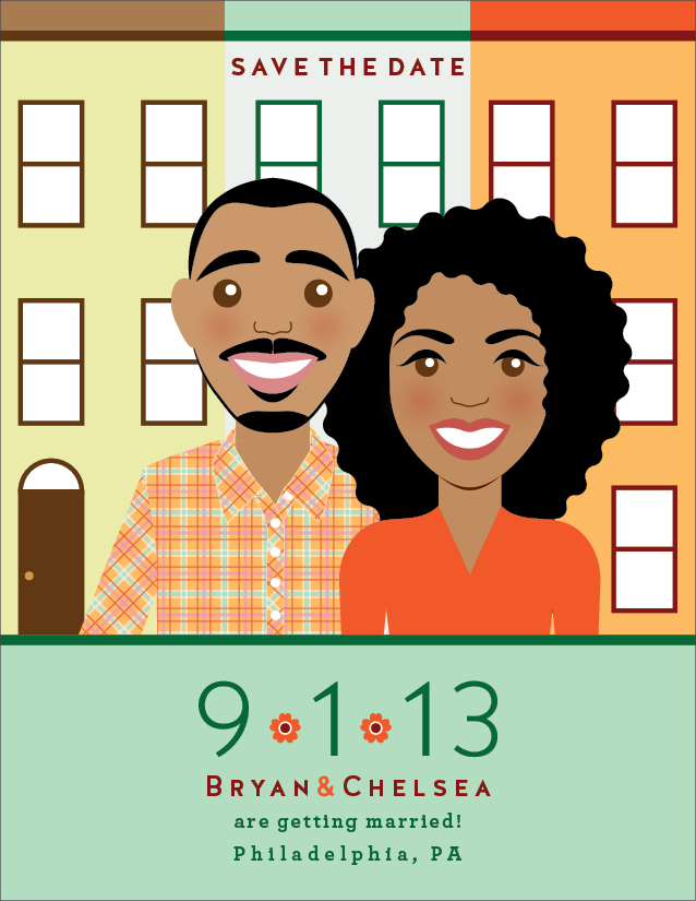 Custom-illustrated save the date