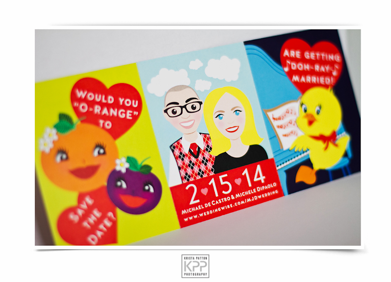 Photo of custom-illustrated Valentine-themed save the date by Krista Patton Photo