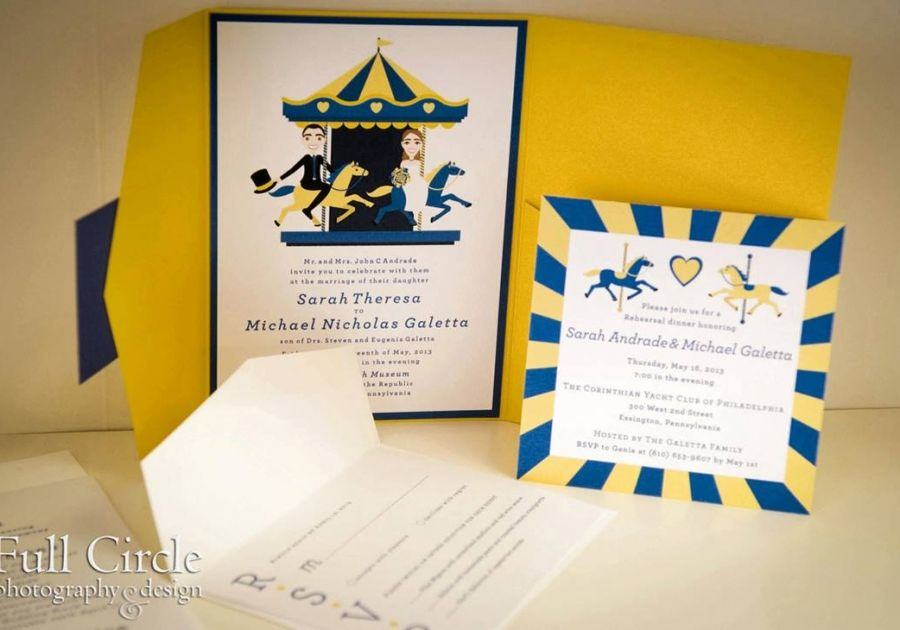 Custom-illustrated wedding invitation suite for Please Touch Museum Wedding. Photo by Full Circle Photography.