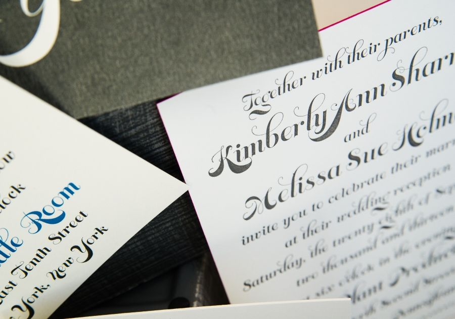 1-color letterpress wedding invitation with edge-painting for Kim and Melissa. Photo by Nina Price Photography.