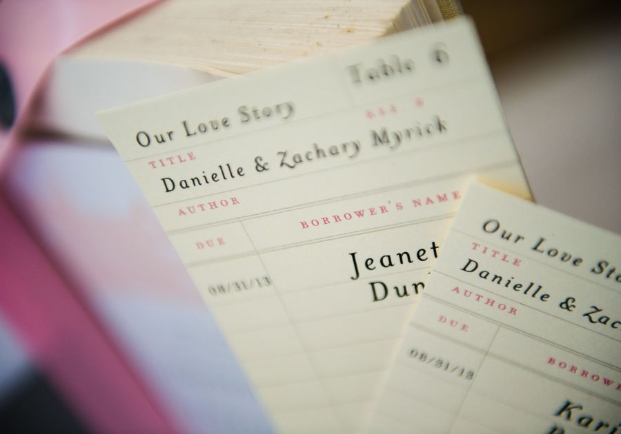 Library card style seating cards. Photo by Nina Price Photography.