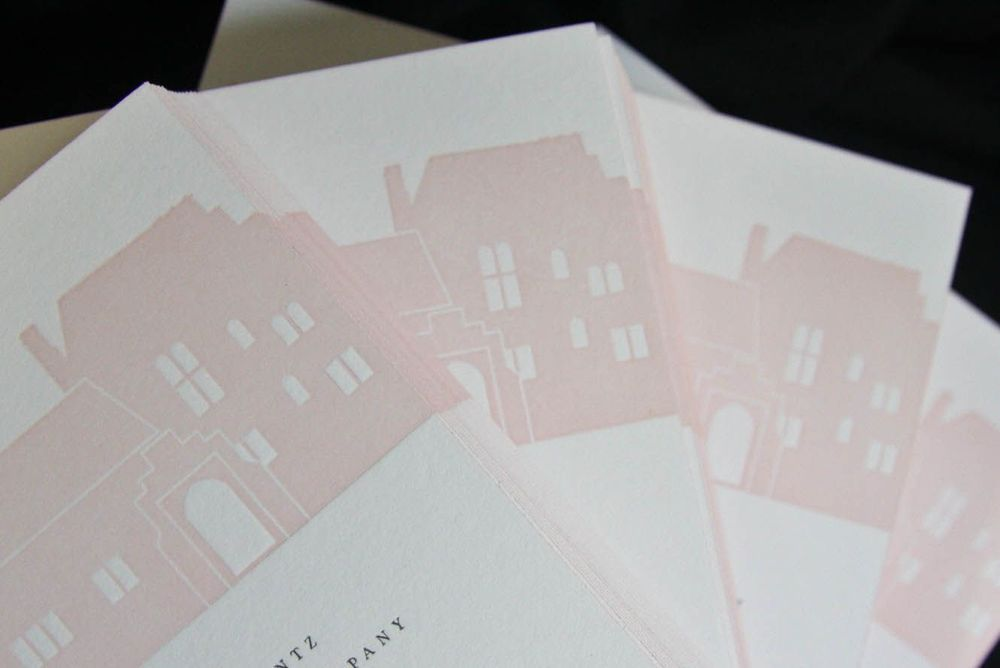 2-color letterpress invitation suite featuring Aldie Mansion facade designed by Francesca. Photo by Nancy Paravano.