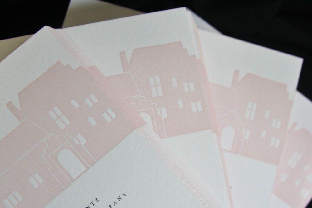 2-color letterpress invitation suite featuring Aldie Mansion facade designed by Francesca. Photo by Nancy Paravano.
