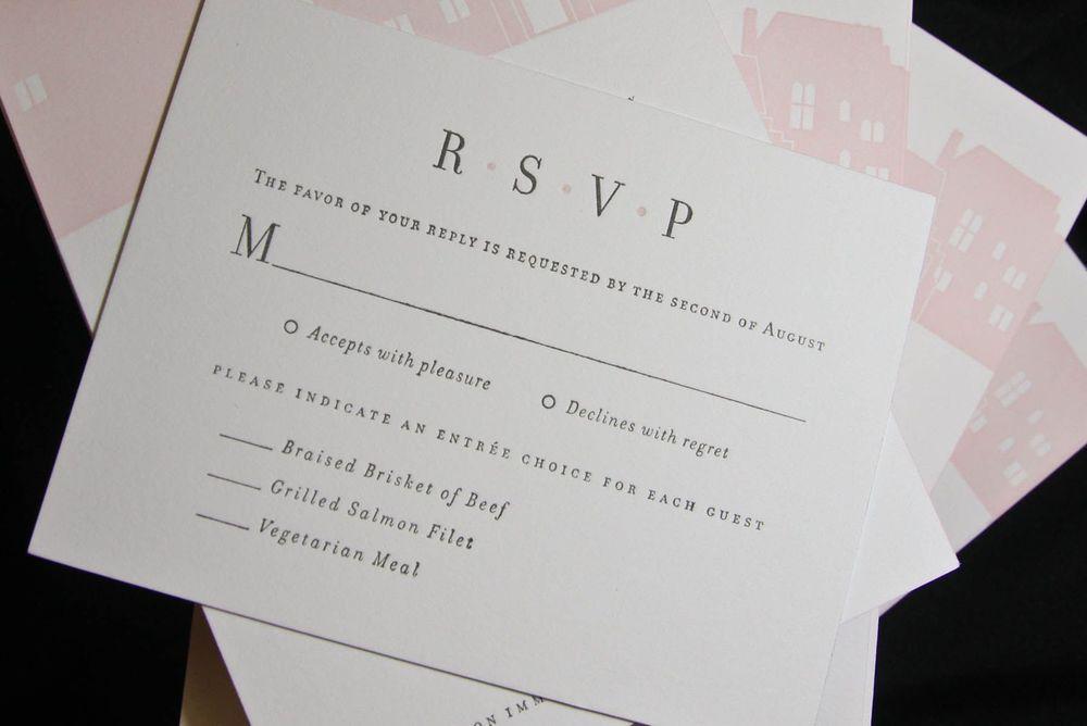 2-color letterpress wedding invitation suite designed by Francesca. Photo by Nancy Paravano.