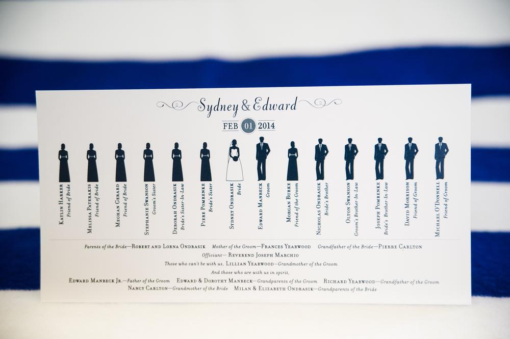 2-sided ceremony program designed by Francesca @ Trilogy Event Design. Photo by Nina Price Photography