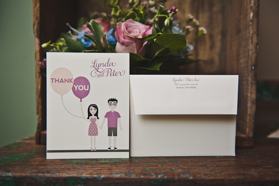 Custom-illustrated Thank You card designed by Francesca @ Trilogy Event Design. Photo by BG Productions.